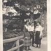 Lu and Don Stewart, Bess Littlefield on rustic bridge