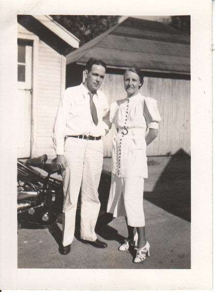 Don and one of his early girlfriends. Note motorcycle in background.
