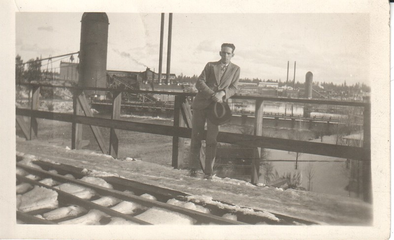 Don at lumberyard in West, 1930s