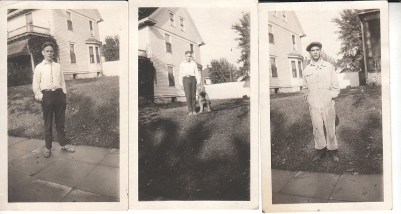 A group of photos of Don Stewart, dog and friend