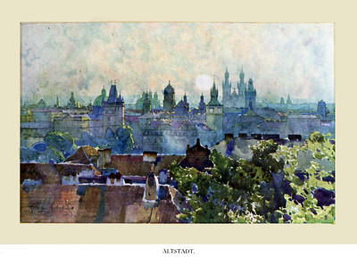 Watercolor Views of Prague in a little book brought from Czechoslovakia in the 20s by Allen Garrigue Osborne, Sue Shea's father.