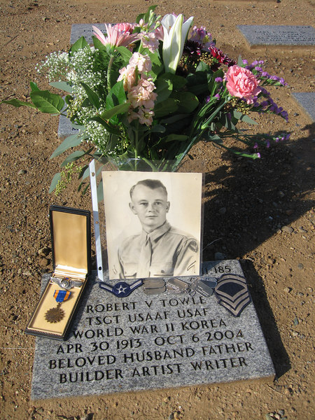 "Grave of Robert V. Towle at San Juaquin Valley National Cemetery in Gustine, CA.<br /> <br /> Dad had spent his earliest adult years in the Coast Guard stationed in the Gulf of Alaska.<br /> <br /> He enlisted in the Army Air Corp during WWII, 8th Air Force, and on his 9th mission was taken as a POW and held for almost a year in Stalag Luft IV, finally released at the end of the war.<br /> <br /> <a href=""http://www.457thbombgroup.org/Roster/Tnames.html"">http://www.457thbombgroup.org/Roster/Tnames.html</a><br /> <br /> <a href=""http://www.457thbombgroup.org/Fate/RLF010.HTML"">http://www.457thbombgroup.org/Fate/RLF010.HTML</a><br /> <br /> He re-enlisted (in the Air Force) for the Korean War and was stationed in Japan."