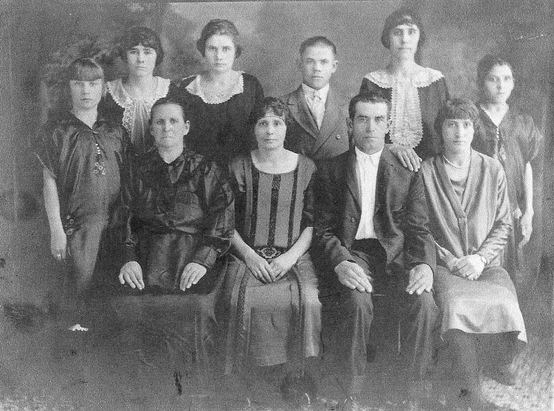 The George and Marie (Weber) Weideman family left Unterdorf, Russia in September 1912.  They sailed on the ship SS Merion, arrived in Philadelphia, Pennsylvania on 30 September 1912.<br /> <br /> The family first went to Winnipeg, Canada, where George and his family stayed with his brother and mother.  The next spring the Weideman family traveled by train to Sterling, Colorado.  They moved to Scottsbluff, Nebraska in 1931.<br /> <br /> This photograph was taken in 1919 in Sterling, Colorado.  Left-to-right:  Lydia, Marie, Marie Elizabeth, Katherin, Katie, Alex, George, Amelia, Pauline and Elise.
