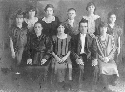 The George and Marie (Weber) Weideman family left Unterdorf, Russia in September 1912.  They sailed on the ship SS Merion, arrived in Philadelphia, Pennsylvania on 30 September 1912.  The family first went to Winnipeg, Canada, where George and his family stayed with his brother and mother.  The next spring the Weideman family traveled by train to Sterling, Colorado.  They moved to Scottsbluff, Nebraska in 1931.  This photograph was taken in 1919 in Sterling, Colorado.  Left-to-right:  Lydia, Marie, Marie Elizabeth, Katherin, Katie, Alex, George, Amelia, Pauline and Elise.