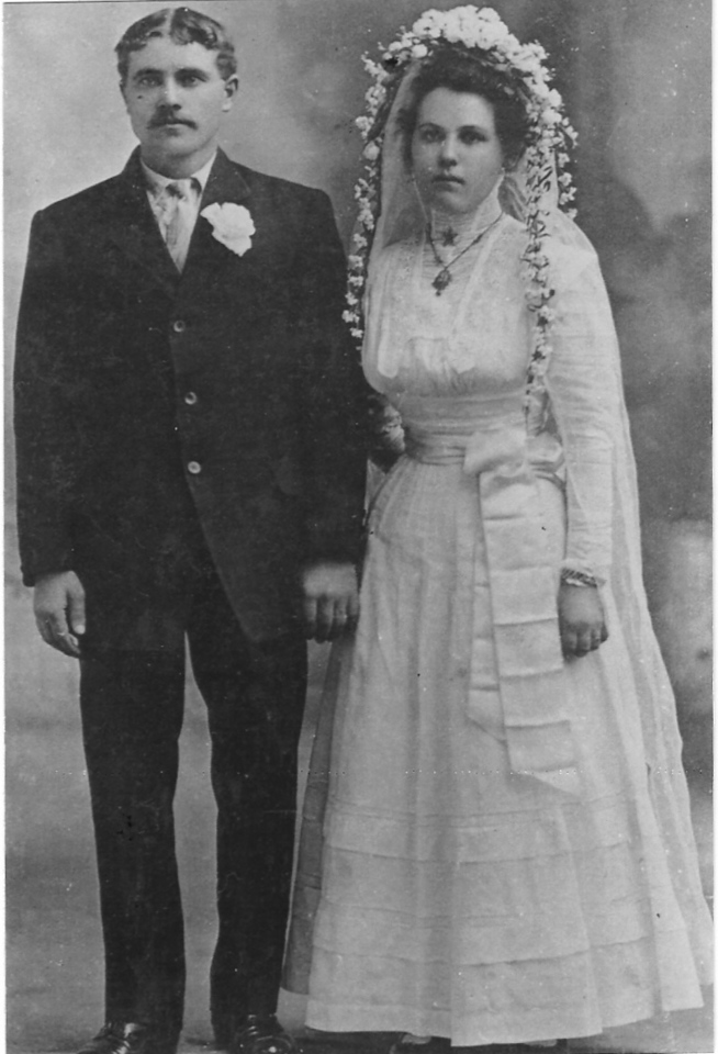 "This is the marriage photograph of Peter and Dora (Eckerdt) Miller, taken in March of 1909 at Longmont, Colorado.  Peter was born and raised in Unterdorf; Dora came from  Schwed, on the east side of the Volga.  They did not meet until arriving in the United States.  To learn more about the Miller family from Unterdorf, visit our <a href=""http://miller-archives.blogspot.com""><b><i> Miller Archives</i></b></a> web site."