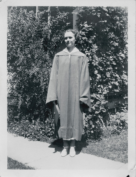Vivian Nolin celebrating graduation from Northampton High School, in Northampton, Massachusetts, June 1935