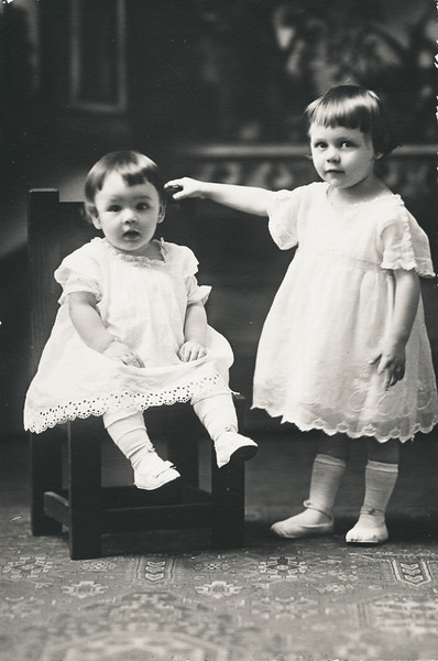 Vivian Nolin (on right) with sister Erline, about 1919