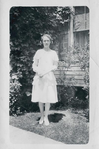 Vivian Nolin celebrating graduation from Ecole du Sacre Coeur, grammar school, in Northampton, Massachusetts, June 1931