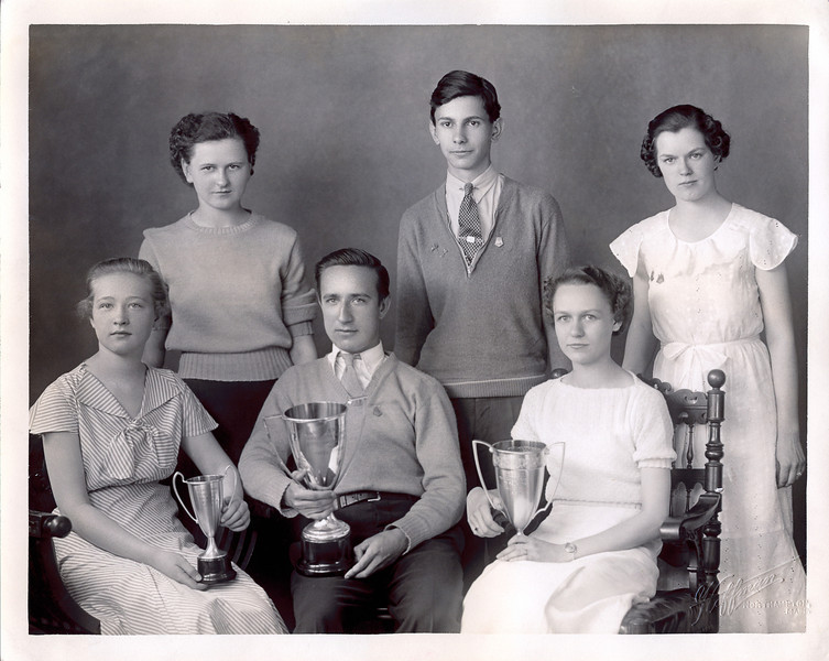 Vivian Nolin, celebrating award from Northampton Commercial College, 1936