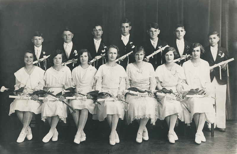 Vivian Nolin (front, center), celebrating graduation from Ecole du Sacre Coeur, grammar school, in Northampton, Massachusetts, June 1931