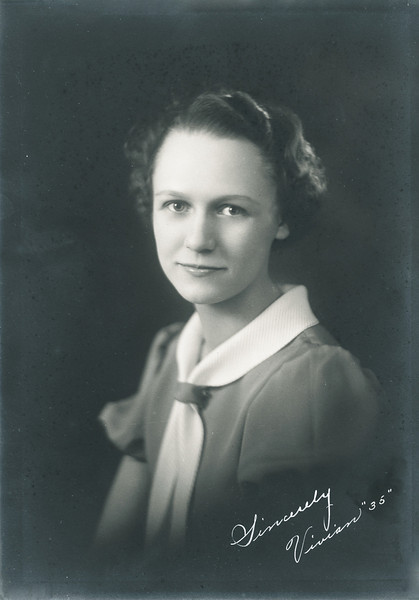 Vivian Nolin, high school graduation portrait,1935