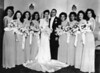 Wedding of Naomi Bloom and Carl Rothschild, 9/1/1946, Anshe Chesed, New York, NY<br /> <br /> Left to Right: Ruth Yahrmish, Miriam Miller, Norma Miller Ecker, Delma Miller Scharfman, Naomi Bloom, Carl Rothschild, Doris Miller, Rosalind Cash, Doris Dolinsky Lewis, Marcia Pearlstein