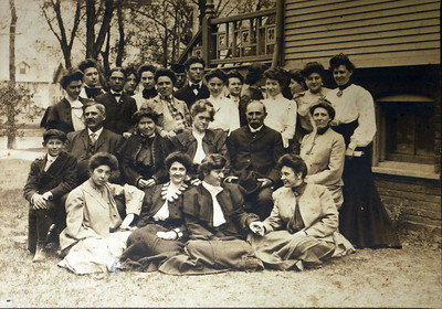 Northwestern University circa 1900. Clarence far left in hat. Nellie (middle row far right) was a matron at a sorority.