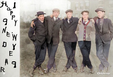 Clarence Beryl Werts second from left Jan 1909 Colorized