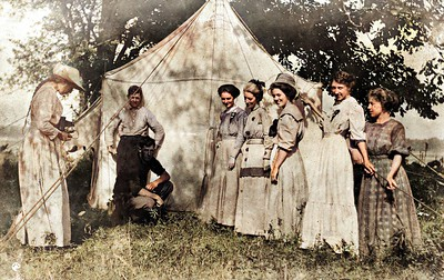Church Revival Tent circa 1909 Seaton, IL.; Clarence Werts kneeling and Nellie left with camera. Colorized.