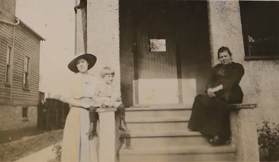 Left - Mary (McKulski) Dahm and son Donald  Right - Antonina McKulski  Taken circa 1921 on Ashland St  Evanston, IL