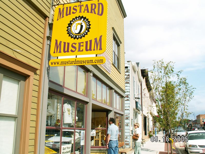 DownTown Mt. Horeb - famous for home of worlds biggest mustard-seed farms.  John & Marianne peering in.