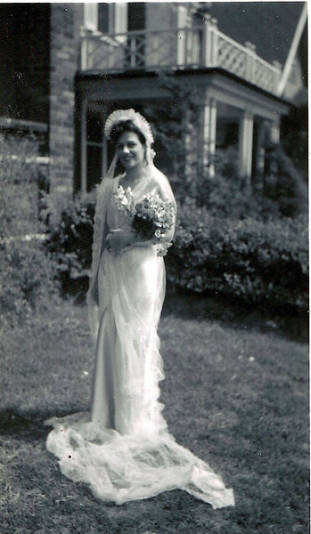 """rose marie testa rabatin wedding dress 1945, I don't think this was her real wedding dress the family story is that she was married in the East on the Naval base and did this """"dress up"""" in Cleveland just for photos. Married at naval station in Baltimore."""