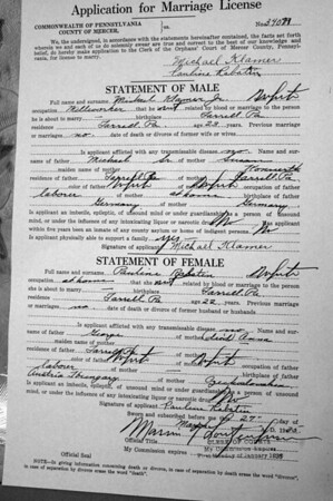 RABATIN marriage license documents ENLARGE PICTURE CLICK ON PICTURE