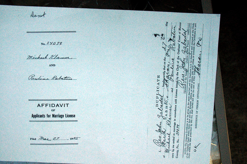 Paul Racketa and Mary Rabatin sister of Andrew Rabatin b. 1920. Documents from Farrell Pa genealogy society or courthouse