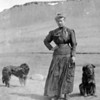 "<center>Thea Elise Sletten Husfloen, great-grandmother of Chloe Opheim and daughter of Ingeborg Larsdatter Sletten. Note from Glenn Larson on April 19:  ""Thea and dogs"" as noted with the negative. Photo by Alvin Halvor Larson, restored by his grandson, Glenn David Griffin."
