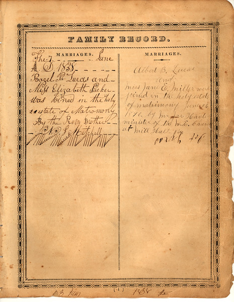 Record page 3 of Lucas family bible