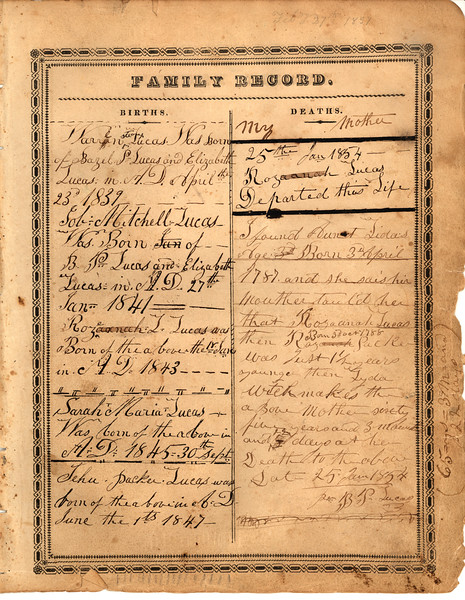 Record page 1 of Lucas family bible