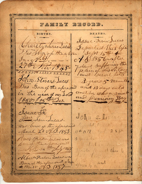 Record page 2 of Lucas family bible