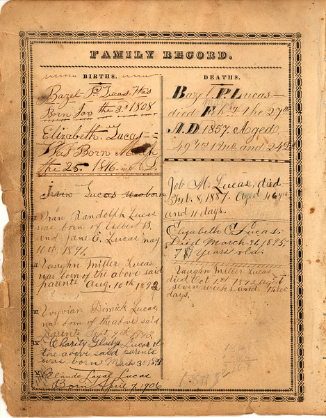 Record page 4 of Lucas family bible