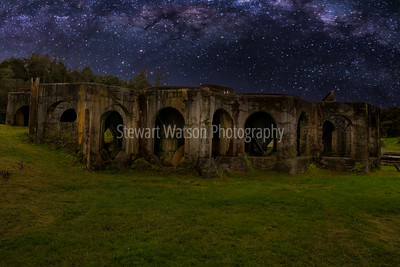 Sunning stars and milky way over the ruins of the historic gold mine