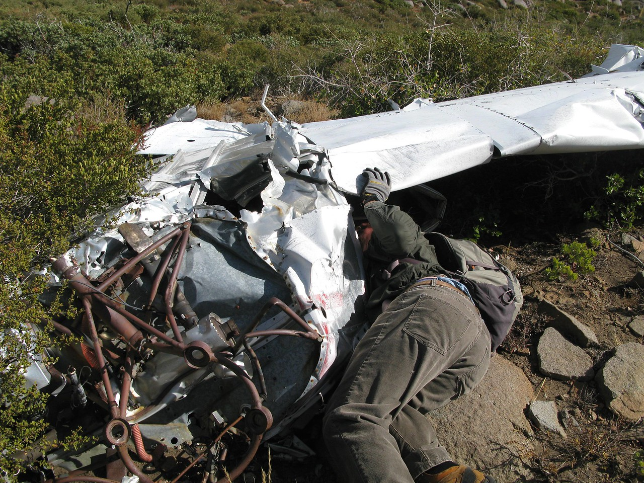 As we examined the wreckage and the site, it was becoming clear that some salvaging of parts had taken place over the past 41 years since the accident. <br /> <br /> Missing were the pilot/passenger seats, instrument panel, engine, propeller, and landing gear components.