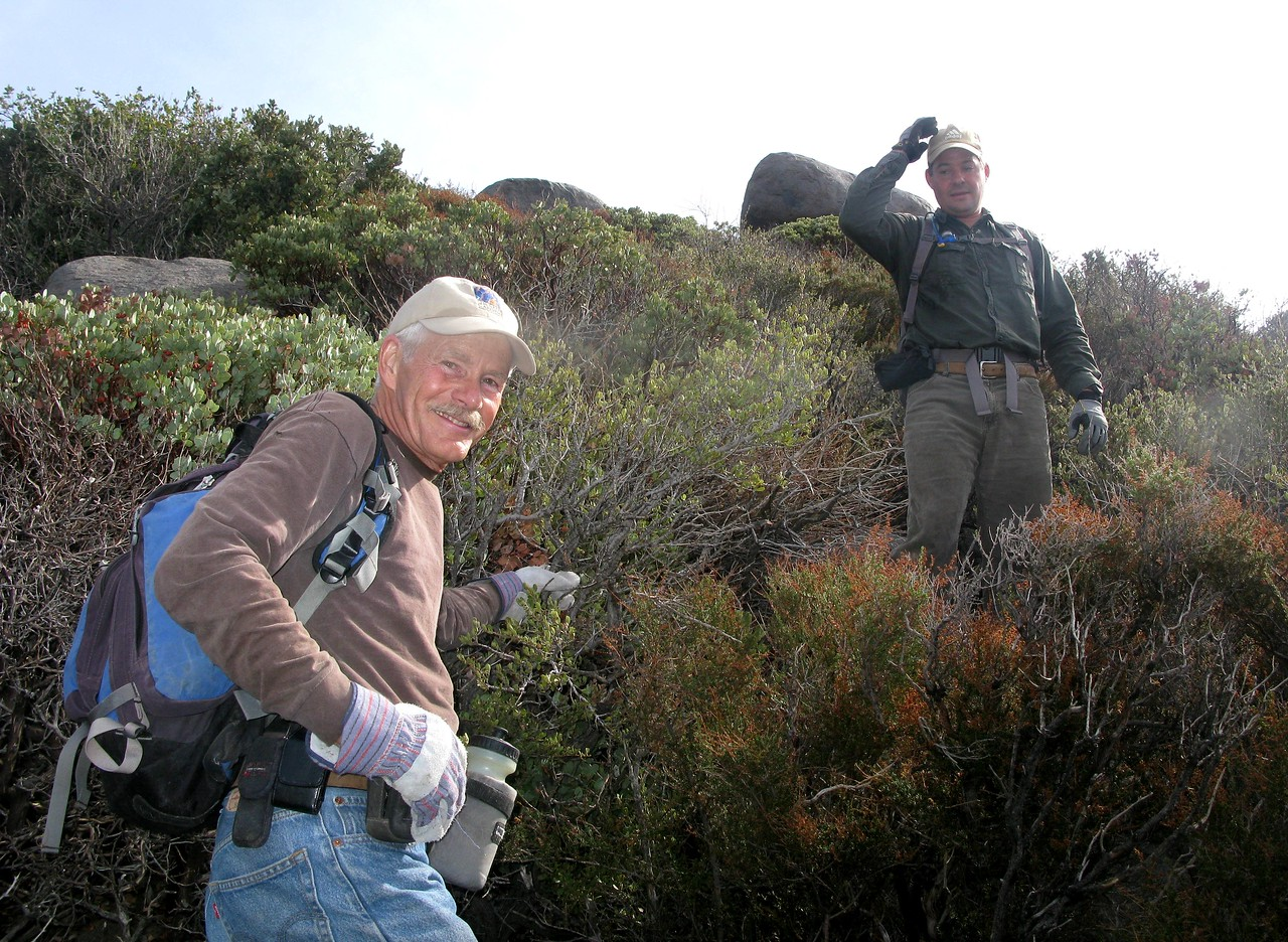 Fellow hikers Steve Owen and Trey Brandt take a break as we near the crest of the ridge line.