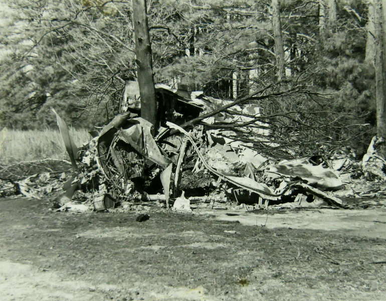 The aircraft came to rest on the property of Nona Wooderd. It's very possible that had the treeline not stopped the aircraft, it would have struck the Wooderd farm house causing further damage and casualties.