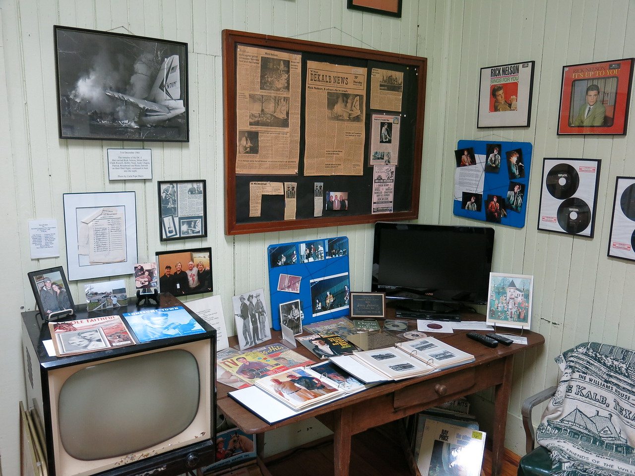 """A portion of this room was devoted to Rick Nelson and the tragic accident that claimed his life and others. The other half of the room is devoted to the late actor Dan Blocker of TV's """"Bonanza""""."""