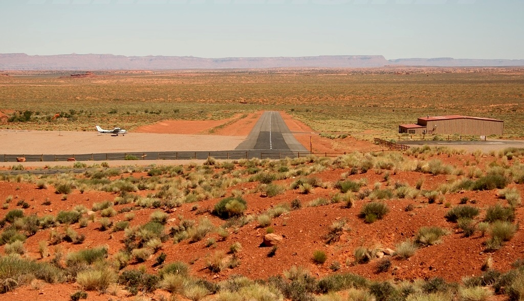 MONUMENT VALLEY AIRPORT (UT25)<br /> <br /> This private airstrip is located in Utah on private land owned by Goulding's Trading Post. The airport is surrounded by the Navaho Indian Reservation.<br /> <br /> The airport is prone to crosswinds and wind shear during periods of strong gusty winds. Landings are made to the south and Takeoffs are made to the north due to natural obstructions.