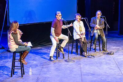 The moderator (Kathy Vreeland), and the panelists (Rex Pickett, Kathy Joseph, and Frank Ostini) having a good time on stage at Sideways Fest, Solvang Festival Theater