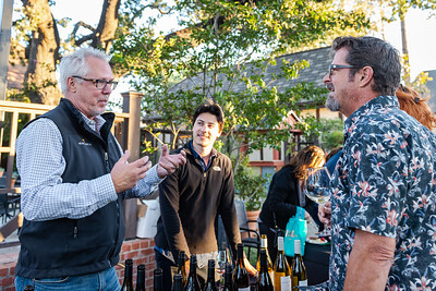 Doug Margerum of Margerum Wine Company, engaging with a Sideways Fest event participant at the Solvang Festival Theater
