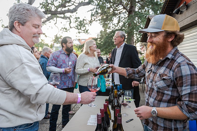 Russell Kudish (Hitching Post) pours Highliner Pinot Noir at the Sideways Fest, held at the Solvang Festival Theater