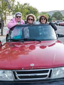 Sideways Fest participants posing with the Saab from the movie.  The woman on the left is a cancer survivor, and is wearing pink as October is breast cancer awareness month