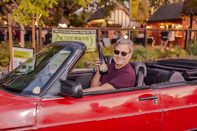 Rex Pickett, author of Sideways, unveils his new Sideways Pinot Noir from Chile (Rex Pickett Signature Series) from the driver's seat of the Saab from the movie