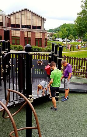 Morning Yoga at the playground!