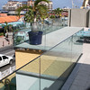 Glass wall and plaza details