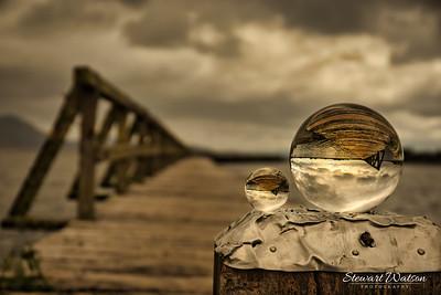 Old Tokaanu wharf, lake Taupo. One jetty two balls
