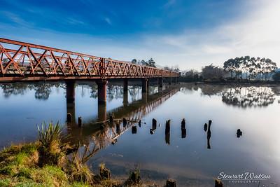 Historic Henly bridge over the river Taieri at Otokai