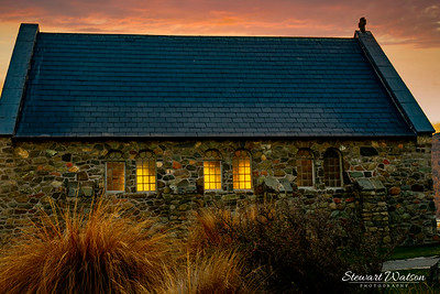 Lake Tekapo chapel at sunset