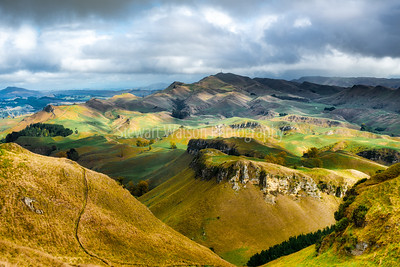 Light and shade on the hills and valleys around Te Mata Peak Hawke's Bay New Zealand