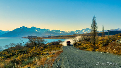 Off road on my e-bike on the undeveloped gravel roads on the Northern shore of Lake Tekapo en route to Mount Hay station