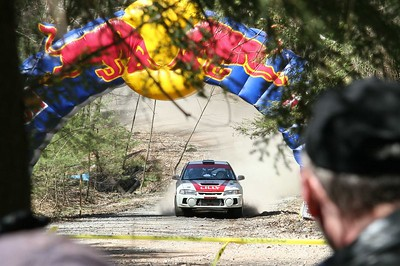 Approaching the turn under the Red Bull arch.