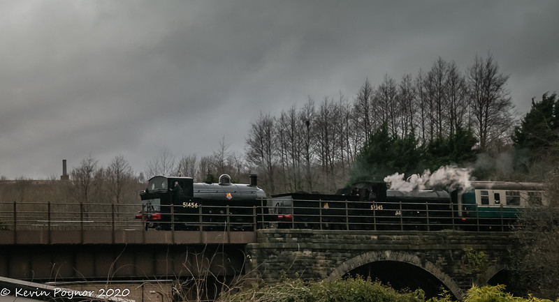14-Mar-20 51456 and 52322 (running as 52345)  double-heading over Summerseat Viaduct.