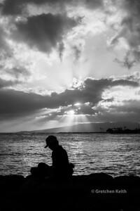 Girl writing on pier in Honolulu bw new LR - WB-6716 pse w c